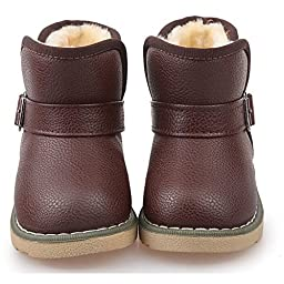 Pumud Kids Cute Buckle Thick Warm Winter Fur Boots (7.5 M US Toddler, Brown)