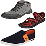 Bersache Men Combo Pack Of 3 Sports Shoes With Loafer Shoes & Sandals