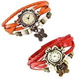 Combo of 2 VB-310 Vintage Butterfly Red + Orange