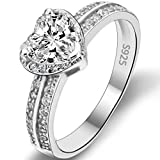 EVER FAITH Candide- Bague Alliance Argent 925 Zircon Forme Cœur Mariage Amour - Taille 52 N06653-1