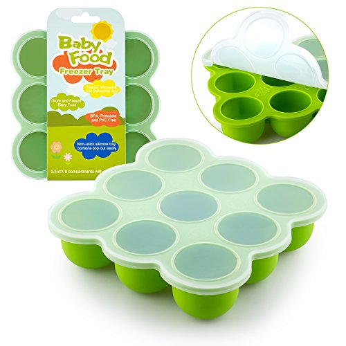 Samuelworld Baby Food Storage Container, Baby Food Freezer Tray with Lid, 9x2.5oz BPA Free, FDA Approved, Silicone, Perfect For Homemade Baby Food, Vegetable & Fruit Purees and Breast Milk (green) (Freezer Baby Food Bags compare prices)