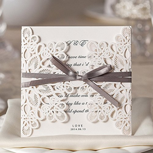 Wishmade 50x Laser Cut Square Wedding Invitations Cards Kits with Bowknot Hollow Favors Cardstock for Engagement Bridal Shower Baby Shower Birthday Graduation(set of 50pcs) WM207