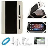 Black with White Executive Leather Jacket Carrying Case Cover with Accessory Slots for Blackberry Playbook 7-inch Tablet Compatible with all Models (16GB, 32GB, 64GB) + Clear Screen Protector + White Rapid Car Charger with LED Power Indicator + White Rapid Travel Wall Charger with LED Power Indicator + SumacLife TM Wisdom Courage Wristband