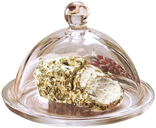 Circleware Dome De Fromage Mini Glass Cheese Butter Dish Dome with Tray Plate and Handle, Limited Edition Glassware Serveware (Cheese Dish Glass compare prices)