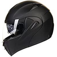 ILM 10 Colors Motorcycle Flip up Modular Helmet DOT (M, Matte Black) by ILM