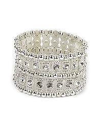 Shining Elastic Bangle Bracelet 2-Row Rhinestone Silver