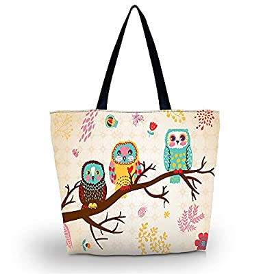 Cute Three Owls Reusable Shoppers Tote Shopping Bag case Reusable Market Grocery Bag Eco Friendly