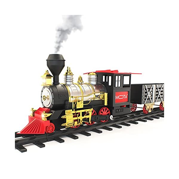 Christmas Train.Mota Classic Holiday Christmas Train Set With Real Smoke Authentic Lights And Sounds A Full Set With Locomotive Engine Cargo Cars Tracks And