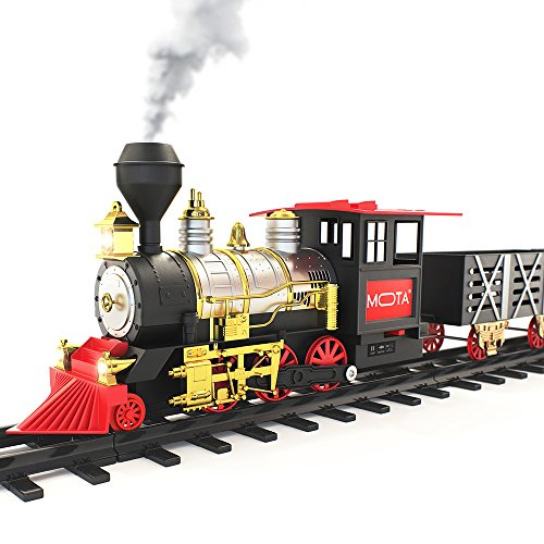 MOTA-Classic-Holiday-Christmas-Train-Set-with-Real-Smoke-Authentic-Lights-and-Sounds-A-Full-Set-with-Locomotive-Engine-Cargo-Cars-Tracks-and-Christmas-Spirit