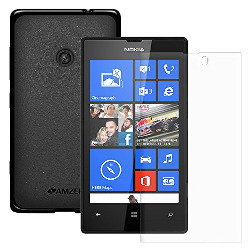 Amzer® Pudding TPU Case - Black with KristalTM Screen Protector For Nokia Lumia 520  available at amazon for Rs.359