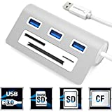"Sabrent Premium 3 Port Aluminum USB 3.0 Hub with Multi-In-1 Card Reader (12"" cable) for iMac, MacBook, MacBook Pro, MacBook Air, Mac Mini, or any PC (HB-MACR)"
