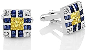 Mens Sterling Silver .925 Original Design Cufflinks, with Channel set Canary Yellow Princess cut, Azure Blue Baguette cut and Classic Round Cubic Zirconia (CZ) Stones High Polished and Rhodium Plated, One of a kind Fancy Design, with Secure Solid Hinges, Sleek and Stunning, measuring 15mm Sqaure.
