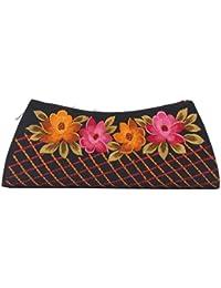 Soulful Threads Hand Clutch In Cotton Silk Fabric With Elegant Embroidery - B01MQLYUXL