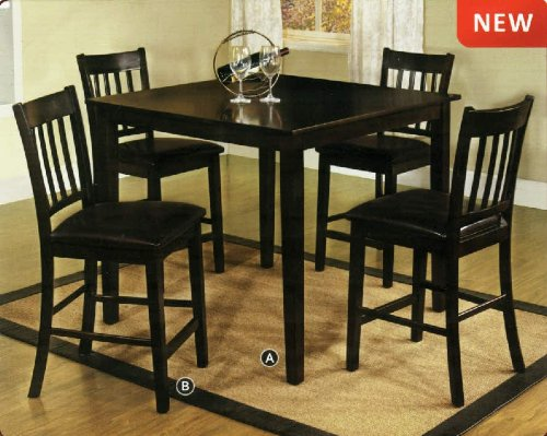Midtown espresso finish mission style 5 piece counter for Mission style kitchen table