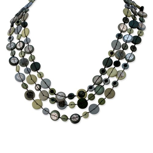 Silver-tone Multi-colored Hamba Wood & Sequin 25in w/Ext Necklace