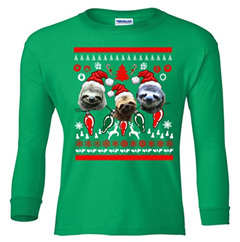 Long Sleeve Youth: Ugly Sloth Christmas Sweater Shirt YLTTP2225668958