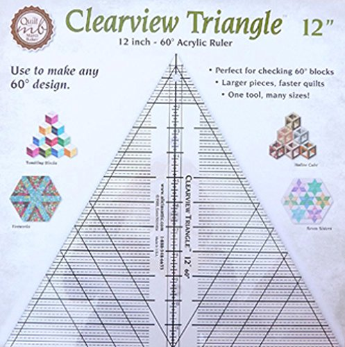 Clearview Triangle(TM) 12 inch - 60° Acrylic Ruler: Perfect for checking 60° blocks - Larger pieces, faster quilts - One tool, many sizes!