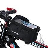 MOREZONE フレームバッグ 5.5インチ自転車スマホホルダー フロントバッグ iphone 6 Plus/6S/5S 対応 スマートフォンサドルバッグ収納アクセサリー (ブラック)