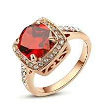 buy Yoursfs Gorgeous Fashion Cushion-Cut Red Crystal In 18K Rose Gold Plated Engagement Rings Birthdaystones Gift