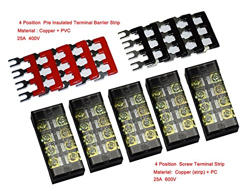 5 Pcs Dual Row 4 Position Screw Terminal Strip 600V 25A + 400V 25A 4 Postions Pre Insulated Terminal Barrier Strip Red /Black 10 Pcs (4 Position Terminal Block compare prices)