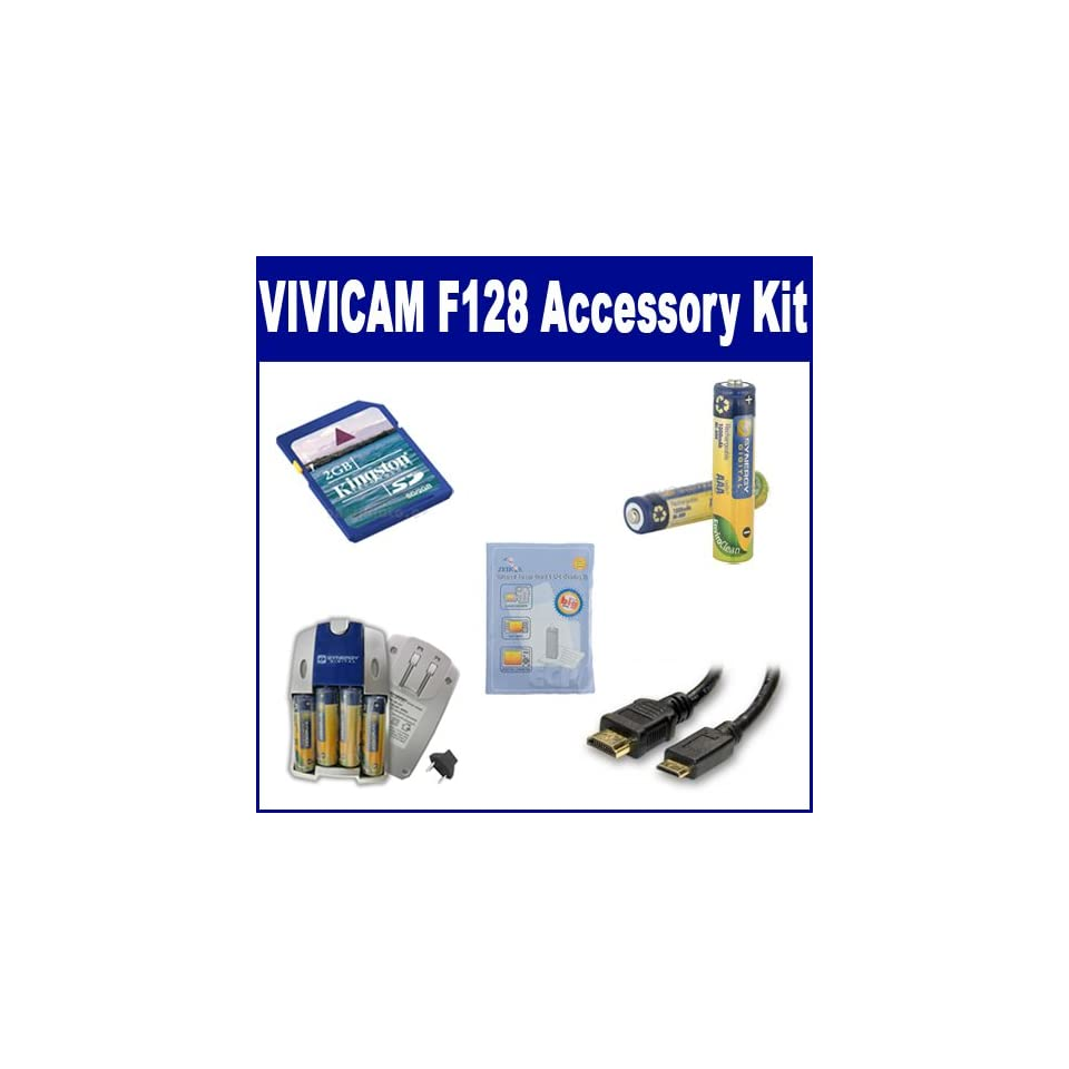 ZELCKSG Care /& Cleaning HDMI3FM AV /& HDMI Cable Vivitar ViviCam 9112 Digital Camera Accessory Kit Includes: SB257 Charger KSD2GB Memory Card