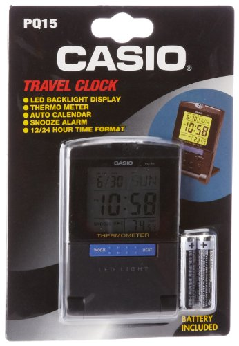 Cheap New Casio PQ15-1K Travel Alarm Clock with Thermometer
