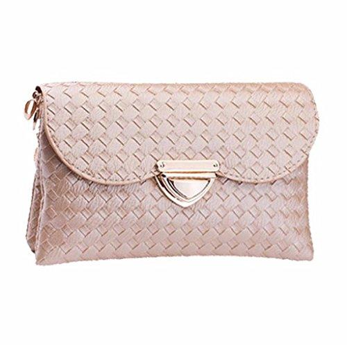 Borsa Familizo Elegant Donne Weave modello Portafoglio spalla borsa Messenger Bag (Cachi)