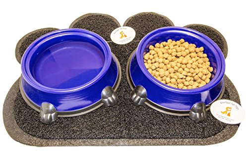 Everlast Pet Toys | Best Feeding Station Bowl & Mat Bundle for Dogs | Anti Slip 'Paw' Shaped Floor Cover | Guaranteed | (2) 32oz Deep Plastic Bowls | Top Rated - #1 Seller | For All Breeds And Sizes