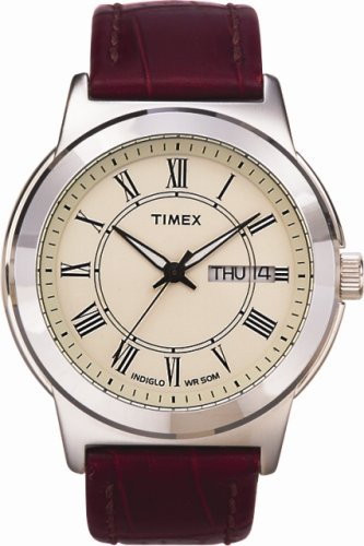 Timex Classic Mens Watch with Cream Dial, Date and Brown Leather Strap - T2E581D7PF