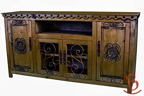 Honey Rustic Junior Durango TV Stand Console With Iron Work Entertainment Center Western (Iron Tv Stand compare prices)