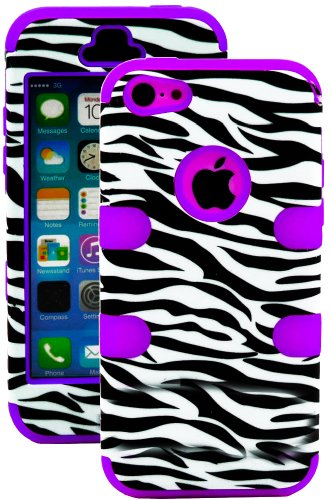 Mylife (Tm) Violet Purple + Black Zebra Stripe Print 3 Layer (Hybrid Flex Gel) Grip Case For New Apple Iphone 5C Touch Phone (External 2 Piece Full Body Defender Armor Rubberized Shell + Internal Gel Fit Silicone Flex Protector + Lifetime Waranty + Sealed
