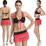 Captivating Cute Black Polka Dots Tomato Colored Haltered Neck Skirted Bikini Set