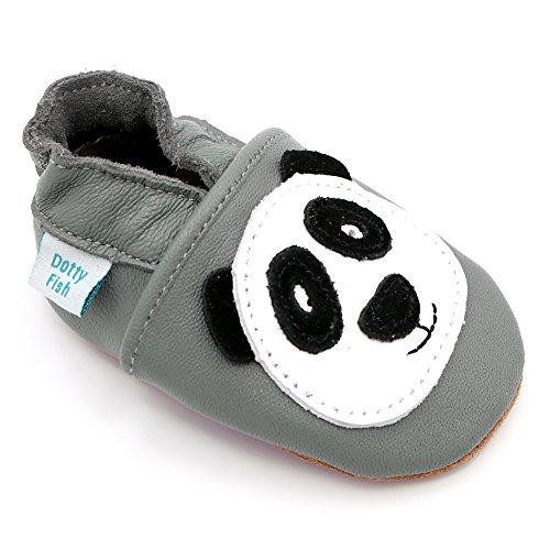 Dotty Fish - Scarpine in pelle prima infanzia - Ragazzi e Ragazza - Animali (12-18 Mesi, Grigio Panda)