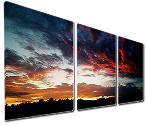 Mon Art 12x12 Inch x3 Pics Burning Dark Clouds Sunset Oil Painting Wall Art Modern Canvas Decor Abstract Picture on Canvas Gallery Black Golden Blue Red Stretched and Framed Ready to Hang (Sunset Oil Painting compare prices)