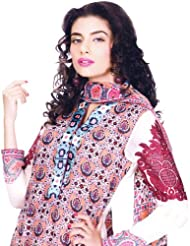 Exotic India Peach Printed Long Salwar Kameez Suit From Pakistan With Em - Peach