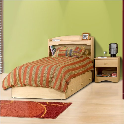 Nexera Alegria Twin Wood Captain'S Storage Bed 3 Piece Bedroom Set In Natural Maple front-594504
