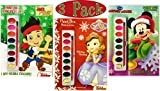 Disney Junior Paint Box Coloring Book Christmas Holiday Set of 3 - Sofia the First, Jake & Mickey Mouse