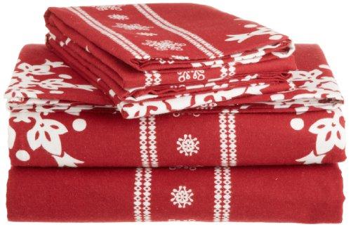 Pinzon 160-Gram Printed 100-Percent Cotton Flannel Sheet Set, California King, Snowflake Bordeaux front-995440