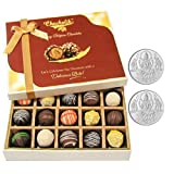 Chocholik Belgium Chocolates - Sweet Treat Of 20pc Truffle Box With 5gm X 2 Pure Silver Coins - Diwali Gifts