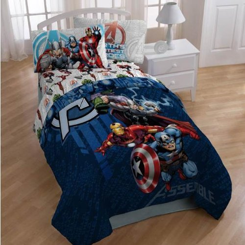 Great Features Of Marvel THE AVENGERS Twin Size 3 Pcs Sheet Set Hulk, Thor, Captain America & Ir...