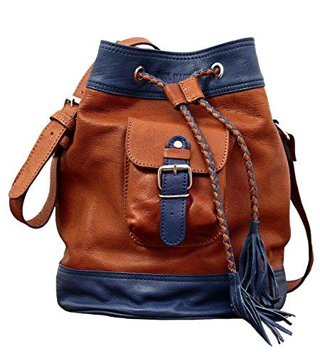 LE FLÂNEUR Bicolore marrone/blu Borsa a secchiello in pelle con nappe stile vintage PAUL MARIUS