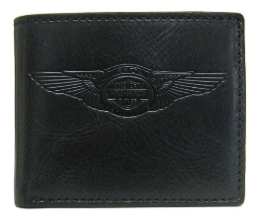 Harley-Davidson Mens 110th Anniversary Classic Billfold Wallet Black Leather