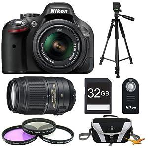 Nikon D5200 24.1 MP CMOS Digital SLR with 18-55mm f/3.5-5.6 AF-S DX VR NIKKOR Zoom Lens (Black) & 55-300mm VR Lens and Filters Bundle - Includes 32GB Secure Digital SD Memory Card, Compact Deluxe Gadget Bag, ML-L3 Remote Control, Filter Kit, and Tripod
