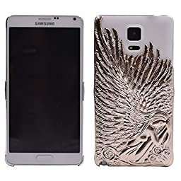 Galaxy Note 4 Case, Turf Angel Wings Stylish Deluxe Bling Sparkly Electroplate Embossment 3D Protective Cover for Samsung Galaxy Note 4 Gold