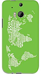 Kasemantra World Map In Green Case For HTC One M8