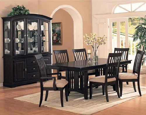 7 Pc Sunset Espresso Finish Wood Dining Table Set With Birch Wood Veneers