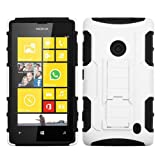 ASMYNA White/Black Car Armor Stand Protector Cover (Rubberized) for NOKIA 520 (Lumia 520)