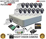 Hikvision DS-7116HGHI-F1 16CH Dvr , 12(DS-2CE16C2T-IR) Bullet Cameras (With Mouse, Remote, 2TB HDD , Bnc&Dc Connectors,Power Supply ,Cable)
