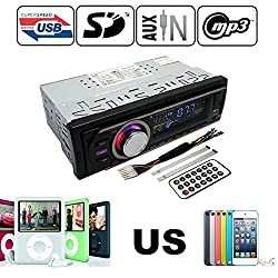 See Klarheit Single Din car In-dash Stereo FM Radio Receiver with Mp3 Player & USB SD Front Input AUX Receiver + Remote Details