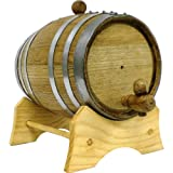 Oak Beverage Dispensing Barrel with Galvanized Steel Bands: 2 Liter - Blank - No Name